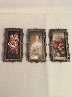 Miniature Vintage Brass Ornate Framed Pictures Victorian Lady w Flowers Italy