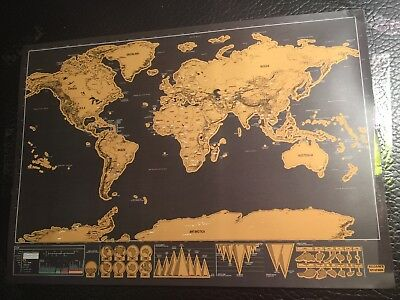 World Travel Scratch Map Poster Big Deluxe Edition Scratch Off  Black Gold