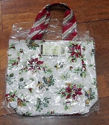 Nib Longaberger Small Lunch Tote In Holiday Botanical