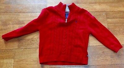 Little Boys Nautica Red 1/3 Zipper Pullover Sweater Size 4 Euc