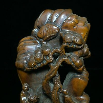 Japanese Netsuke Old Collectible Handwork Boxwood Figure Scenery Antique Statue