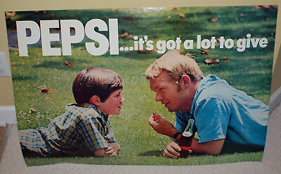 Vintage 1970 Large Pepsi It's Got A Lot To Give Cardboard Advertising Sign Litho