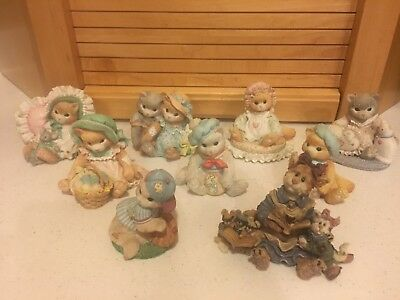 1992-1993 Limited Edition Enesco Calico Kittens Collectible Figurines-8 Pieces+1