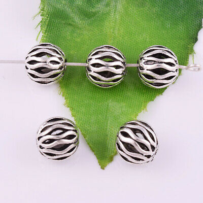 Tibetan silver Round Spacer Charm Loose Beads Hollow Jewelry Findings 10mm