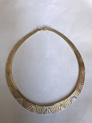 Beautiful .925 Sterling Silver Etched Collar Necklace ITALY