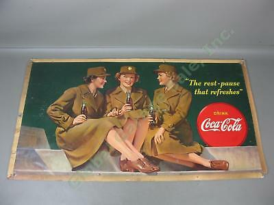 Vtg WW2-Era 1943 Drink Coca-Cola Cardboard Litho Sign Advertising Poster 20 x 36
