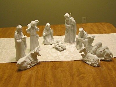 9 Pc Home Interiors Homco White Bisque Nativity Set Holy Family Kings Camel Ox
