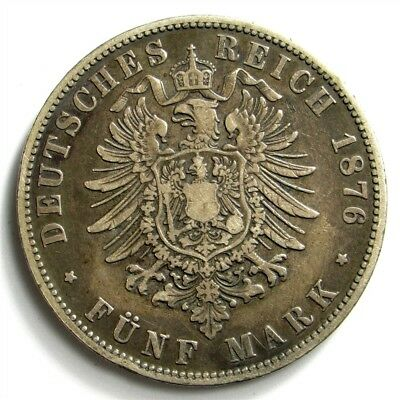 1876-A Prussia 5 Mark - KM#503 - Large German States Silver Coin