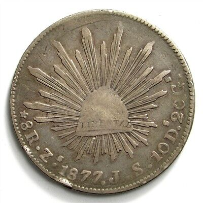 1877-Zs JS Mexico 8 Reales - KM#377.13 Large Silver Coin