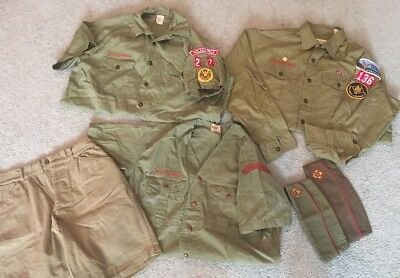 6 pc lot Boy Scouts Of America Youth Uniform Shirt Short /long Sleeve Beige Hats