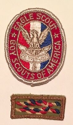 2 VINTAGE 1950-60's BOY SCOUT EAGLE RANK BADGES PATCH KNOT