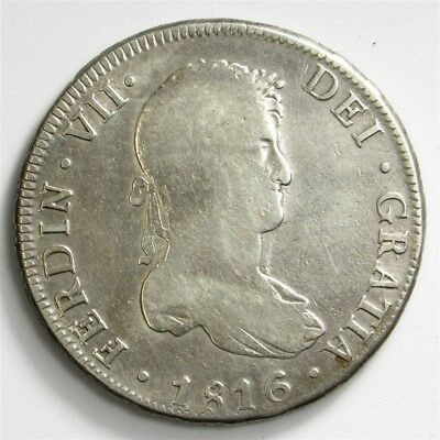 1816-PTS PJ Bolivia 8 Reales - KM#84 - Spanish Colony Large Silver Coin