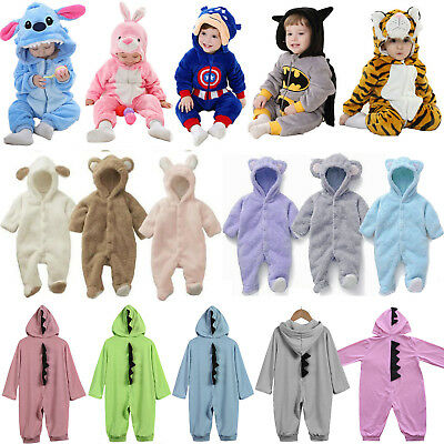 Toddler Baby Kid Boy Girl Pajamas Hooded Animal Costume Romper Bodysuit Jumpsuit