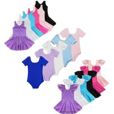 Girls Gymnastics Ballet Dance Dress Toddler Kids Leotard Tulle Dancewear Costume