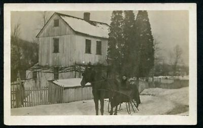RPPC 1909 CHILDREN in HORSE DRAWN CARRIAGE SNOWY DAY ANTIQUE REAL PHOTO POSTCARD