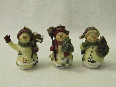 3 Home Interiors Resin Snowman Christmas Ornaments