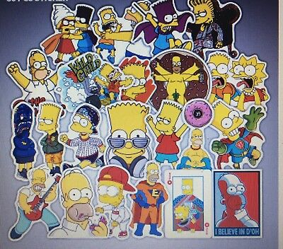 Bulk Lot of 10 Stickers The Simpsons - Cartoon, Waterproof, Decal, PVC, Kids