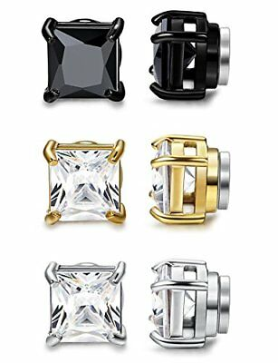 ORAZIO 3 Pairs Stainless Steel Magnetic Stud Earrings For Womens Mens Non Cubic