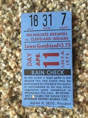 1975 Brewers Indians Opening First Day Game Ticket Stub Hank Aaron Hit