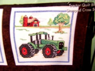 JANLYNN 6 ANTIQUE FARM TRACTOR & BARN QUILT BLOCKS STAMPED for CROSS STITCH 18""