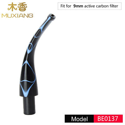 Acrylic Mouthpieces Stem Tobacco Pipe 9mm Smoking Pipe Filter Bent Blue Black