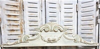 Achitectural shabby painted scroll leaves pediment antique french wooden crest