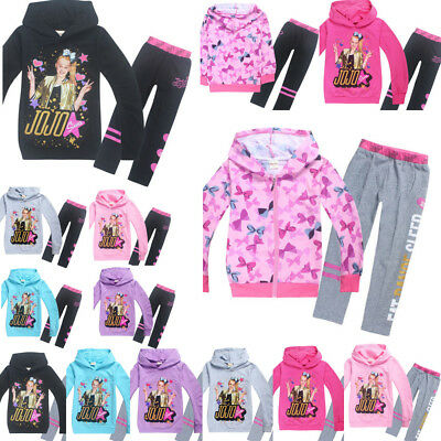JoJo Siwa Hoodies Casual Cartoon Tops Sweatshirt Clothes trousers Kids Girls Lot