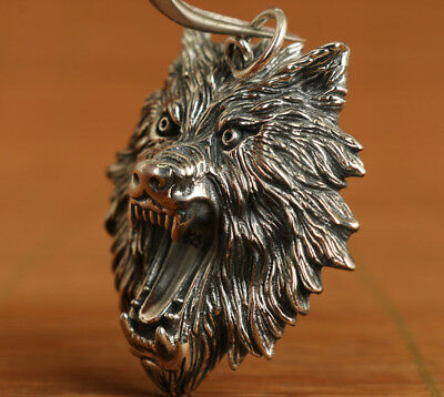 Rare ART Chinese Fine 925 Silver Old Hand Carved fierce Wolf Head Statue Pendant