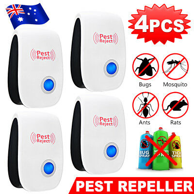 4X Ultrasonic Pest Repeller Electronic Rat Mouse Mosquito Insect Control AU PLUG