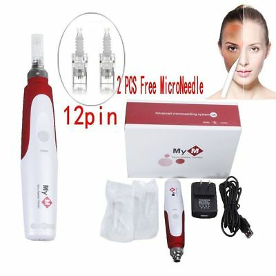 Electric derma Pen Stamp Auto Anti Aging Skin Therapy Roller +2pcs Microneedles