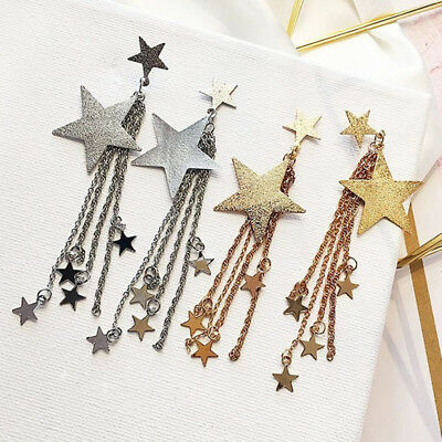 Fashion Women Star Long Chain Stud Dangle Drop Party Statement Earrings Gift Z