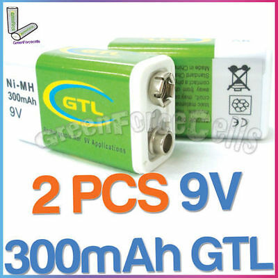 2 pcs 9V 300mAh GTL Ni-MH rechargeable battery PP3 block