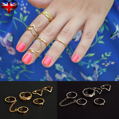 6pcs/set Women Knuckle Finger Joint Gilded/Silvery Ring Fashion Jewelry UK Stock