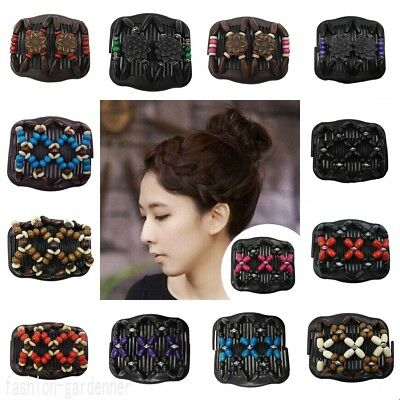 New Magic Hair Comb Clip Double Slide Butterfly Beads Elastic Hairpin Hair Decor