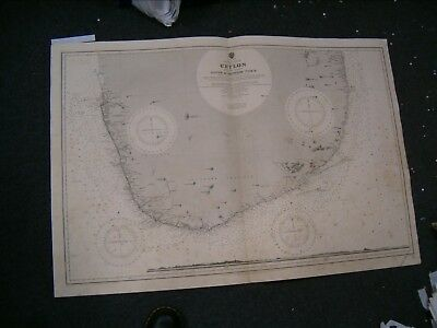 Vintage Admiralty Chart 813 CEYLON - SOUTH PART 1911 edition