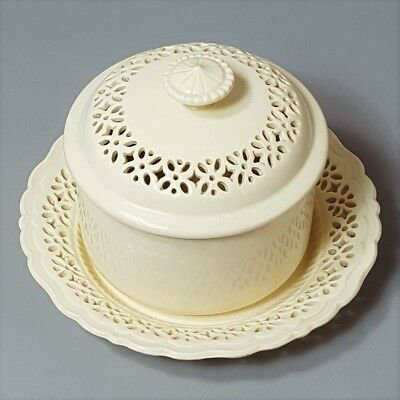 Royal Creamware Pierced Butter Tub & Stand