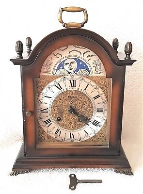 Mantel Clock Hermle Large Vintage 1970, 8 Day, Moon Dial & Bim Bam Strike 29.5cm