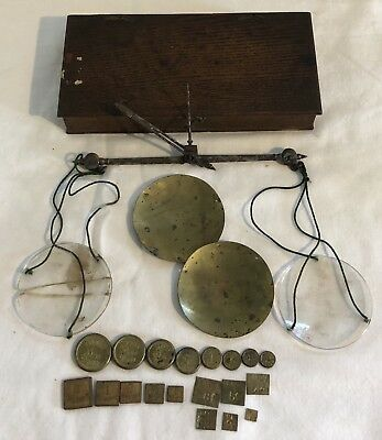 19thC Boxed Apothecary Scales + Rare Brass Weights AVERY TROY oz DRACHM & GRAINS