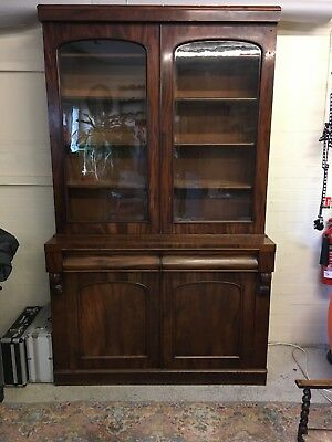 Antique Victorian Mahogany glass fronted Library Bookcase