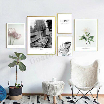 Scandinavian Flower Feather Poster Nordic Wall Art Canvas Prints Unframe