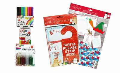 Christmas Set Activity Pack Letter to Santa 24 Crayons 8 Markers 4 Glitter Glues