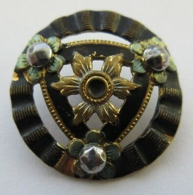 Beautiful Antique~ Vtg Cold Painted ENAMEL on Metal BUTTON w/ Cut Steels (N8)