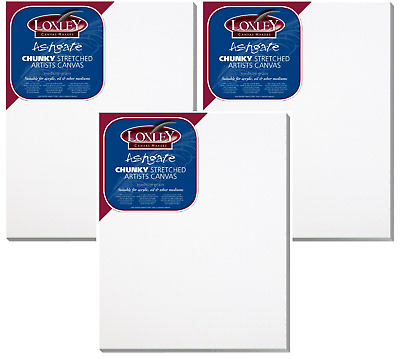 3 x A4 Loxley Deep Edge Stretched Canvas Primed Cotton Blank Box Chunky ACCA4