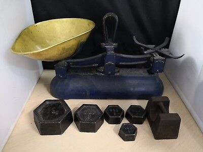 Vintage Cast Iron & Brass Avery Scales + Weights