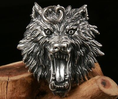 Nice Chinese Old 100% Fine S925 Silver Wolf Statue Ring Christmas Gift