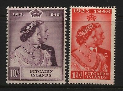 Pitcairn Islands 1948 KGVI Silver Wedding Pair Mounted Mint