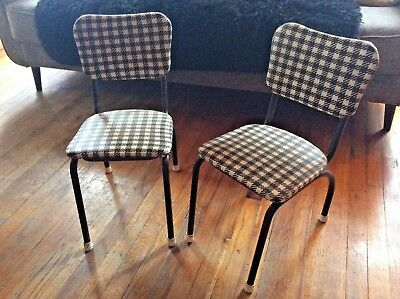 Pair Retro1950's Vintage Metal Childs Chair Checker vinyl mid century mcm modern