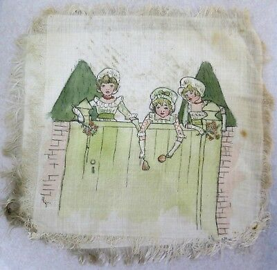 Victorian Silk Print after Kate Greenaway (Children watching at the Gate)