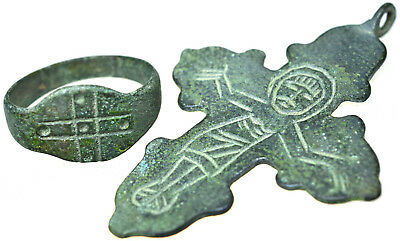 Byzantine Bronze Cross Pendant and Byzantine Bronze Cross Ring Set