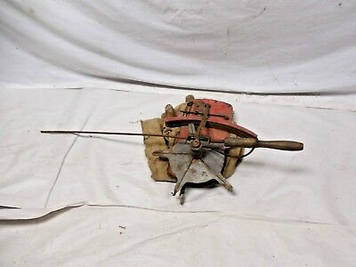Antique Hand Seeder Seed Spreader with Canvas Bag Pull Rod Operated